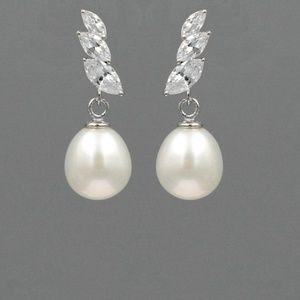 White Freshwater Pearl  Sterling Silver Earrings